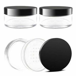 3 Pièces Pots de Maquillage Vides en Plastique,50g Boîte Maquillage Poudre Libre,Contenant Cosmétiques,avec Tamis et Couvercles,pour Maquillage,Fille,Poudre Crèmes(Sans Bouffée)