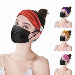 4 bandeaux larges à boutons élastiques, bandeaux avec boutons pour femmes, bandeau respirant antidérapant, pour le fitness, le yoga, la course, la randonnée, le lavage du visage et le maquillage