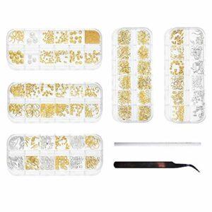 5 boîtes dorées 3D Nail Art Décorations d'ongles Art Fournitures de cristaux avec pince à épiler et crayon de cueillette