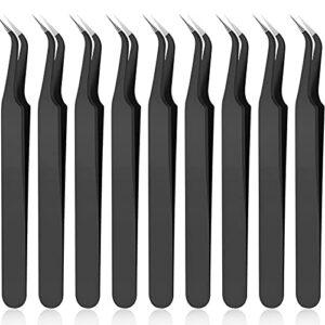 9 Pièces Pince à Épiler Extensions de Cils à Pointe Incurvée, Pince à Épiler à Pointe Incurvée Acier Inoxydable Pince à Épiler Pointu avec Housse de Protection pour Extension de Cils