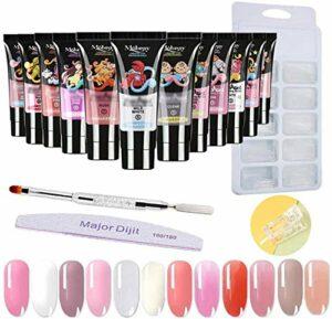 Anself 12 Couleurs UV Gel Nail Ongles Kit, Ensemble d'outils de Kit Gel Nail Builder pour Nail Art, 15ML Kit d'Extensions d'Ongles, 100Pcs Quick Building Mold Tips + Double-Tip Pen + Nail File