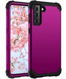 Artfeel Coque Antichoc pour Samsung Galaxy S21 FE 5G,Hybride 3 en 1 PC Dur + Silicone Souple Pare-Chocs Étui Anti-Rayures Robuste Armure Protection Complète du Corps Housse,Violet Foncé + Noir