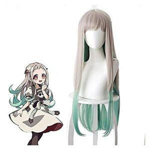Beapet Toilettes Hanako-Kun Nene Yashiro Wig 80cm Long Long Straighte Synthetic Cheveux pour Anime Costume Perruque Grey Green Green Vert