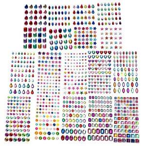 Bigood 1088pcs Strass Autocollant Visage Maquillage Cristal Décoration Embellissements de Scrapbooking