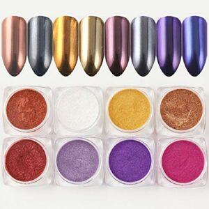 BISHENGYF Lot de 8 flacons de poudre miroir pour ongles – Couleur or rose – Licorne caméléon – Pour nail art – Pigment de sirène chromé – Décoration de manucure