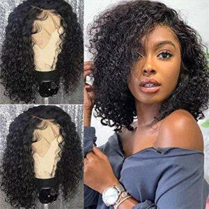 Bliss hair 10 Pouces Lace Wigs Perruque Bresilienne Lace Closure Wig Cap Court – Afro Human Hair Qualité de Cheveux – Meche Naturels Brésilienne Water Wave Curly Bouclés