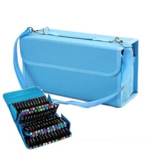 Boîte De Marqueurs Porte-Valise Pour Stylos (80 Emplacements) Boîte De Rangement De Rouge À Lèvres, Utilisée Pour Placer Un Crayon Et Un Marqueur Pour Marquer La Boîte,Bleu