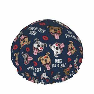 Bonnet de douche baiser un taureau mignon Pit Bull lèvres de chien imperméable Double couche élastique bonnet de bain usage domestique bonnet de nuit