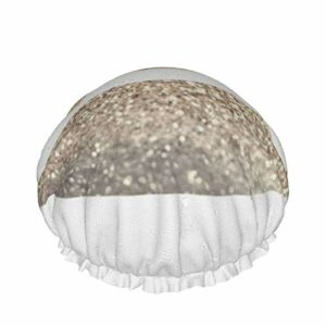 Bonnet de douche motif imprimé lèvres dorées imperméable double couche bonnet de bain élastique usage domestique bonnet de nuit