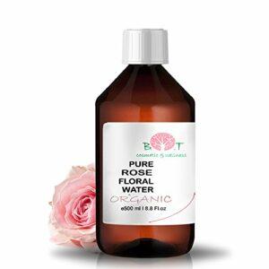 B.O.T cosmetic & wellness Lotion Eau Florale Organique de Rose Hydrolat 100% Pure pour Peau Sensible 500 ml