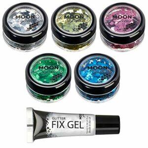 Brillant épais classique par Moon Glitter – 100% de paillettes cosmétique pour le visage, le corps, les ongles, les cheveux et les lèvres – 3g – Assortiment de 5 couleurs