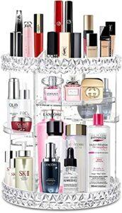 C + Organiseur de maquillage en acrylique – Rangement de cosmétiques et de parfum – Organisateur de maquillage sur comptoir – Support rotatif à 360° – Pour soins de la peau et motif diamant