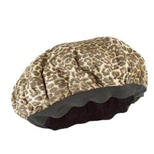 Capuchon de chaleur Capuchon de cheveux secs Plaque de bain en plastique Plaque de lin conditionnement en profondeur pour les cheveux texturés Sécher Séchoir Style Curling Leopard
