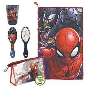 Cerdá – Trousse de Toilette Spiderman Complète pour Enfants – Licence Officielle Marvel