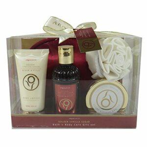 Coffret cadeau pour femme – coffret de bain avec pochette de maquillage rouge – Collection Aromanice – Cidre de cèdre
