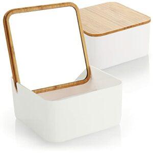com-four® 2X Organiseur cosmétique avec Miroir de Maquillage – boîte à cosmétiques avec Miroir dans Le Couvercle en Bambou – boîte en Plastique (02 pièces – Organisateur cosmétique Angulaire)