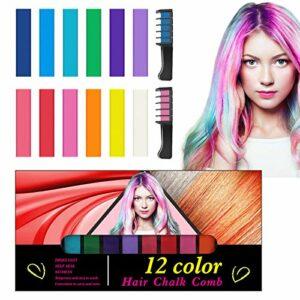 Craie Cheveux, Kastiny 12 Couleurs Coloration Temporaire Cheveux Colorant Cheveux Lavable Non Toxique avec 2 Peignes, Teinture Cheveux pour Enfant Adulte Fête