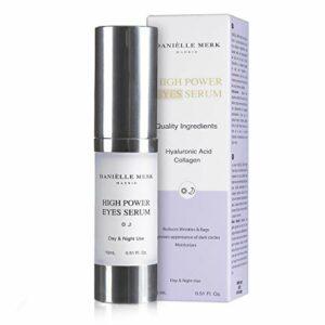 DANIÈLLE MERK – High Power Eye Serum – Crème Sérum Contour des Yeux – Sérum raffermissant, tenseur et illuminateur à l'acide hyaluronique pur – 15 ml