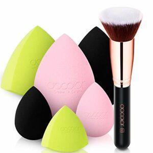 Docolor 6 + 1Pcs Éponges de Maquillage avec Pinceau Fond de Teint Plat Top Kabuki Pinceau Fond de Teint Professionnel Beauté Maquillage Mélangeur pour Polissage Liquide Pointillé Pinceau Visage