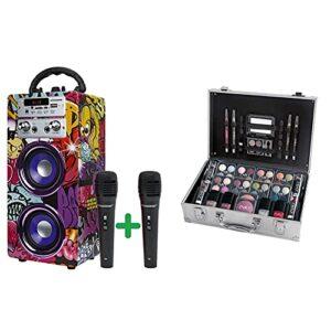 DYNASONIC (3e génération) – Haut-Parleur Bluetooth Portable, Lecteur USB et SD, Radio FM intégrée et 2 Microphones & ZMILE Cosmetics Coffret Maquillage Mallette en Aluminium 51 pièces