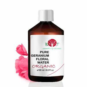 Eau Florale Organique de Rose Geranium Hydrolat 100% Pure 100 ml Lotion Peau Sensible, Lotion Bébé, Lotion Après Rasage, Lotion Après Épilation.