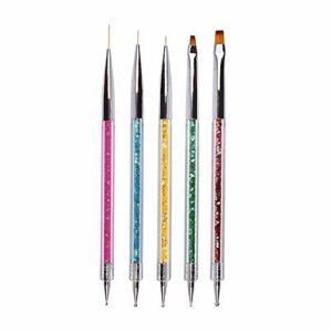 Ebanku 5 PCS Pinceaux Ongles de Nail Art Stylo,Cristal Acrylique Dotting Manucure Outils Peinture nail art Brosses Ensemble outils de pointillage pour nail art