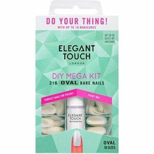 Elegant Touch – Mega Kit DIY – Ongles ovales nus (216 ongles (10 tailles) et 2 colles) (4009043)
