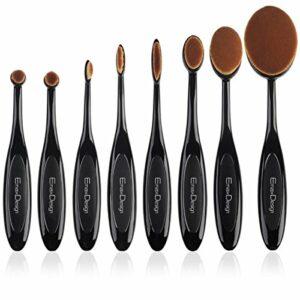 EmaxDesign ovale Set de pinceaux à maquillage, 8 Pinceaux Maquillage Crème Fond De Teint Correcteur Estompeur à blush poudre liquide, Brosse à dents courbe Outils de maquillage pour visage et yeux.