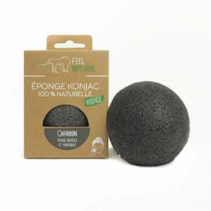 Eponge konjac visage 100% naturelle de qualité supérieur – FEELNATURAL – exfoliation naturelle et le nettoyage profond des pores (pour 4 types de peau différentes) (CHARBON – peau grasse et acnéique)