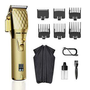 Fade King, tout métal, moteur silencieux, tondeuse professionnelle pour hommes. Pour couper les cheveux et la barbe, kit de toilette, barbier, rechargeable, écran LED
