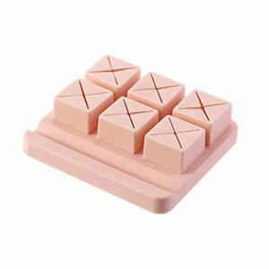 FEITeng 6-Grid Lipstick Holder Présentoir de rouge à lèvres en silicone Boîte de rangement pour cosmétiques,Rose