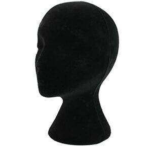 Femme Perruques Tête De Personnels Kits De Soins Stand Perruque Styromousse Portable Mousse Tête Malléable Perruque Styling Chapeau Couvre-chef Stand D'affichage (noir)