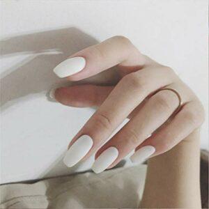 Flrora Cercueil mat Faux ongles Ballerine blanche Appuyez sur les ongles Artificiel acrylique faux ongles moyens pour femmes et filles (24 pièces)