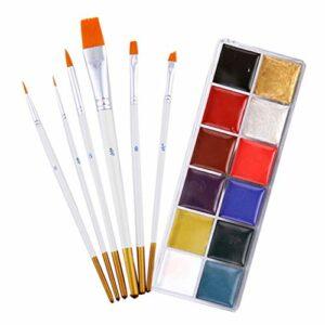 FOMIYES 1 kit de peinture pour le visage professionnel non toxique 12 couleurs Peinture à l'huile pour le corps Halloween avec 6 pinceaux pour Halloween, cosplay, fête, maquillage artistique SFX