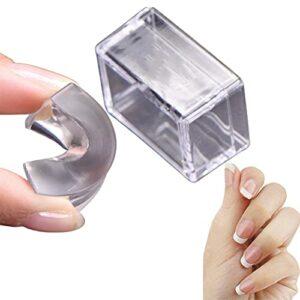 French Nail Easy Stamp, Nail Art Stamper, Gelée d'estampage en silicone transparent avec grattoir, Kit de tampon à ongles pour outils de manucure bricolage Kit de vernis (1PCS)