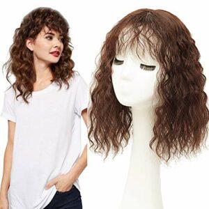 Full Head Wear Topper Bouclés avec frange bouclée Clip in Snythetic Messy Hairpiece pour cheveux amincissants 35 cm Noir jais