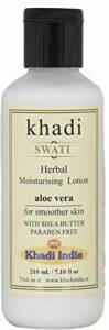 Glamorous Hub Khadi Swati Herbal Aloe Vera Lotion hydratante avec beurre de karité pour une peau plus lisse 210 ml (l'emballage peut varier)