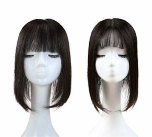 Grand Haut de Forme en Soie à Base de Cheveux Humains avec Frange Plate, Pince Naturelle de 14 'sur Les Accessoires de Maquillage postiche