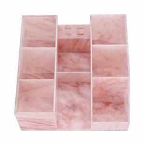 Harilla Organisateur de Boîte de Cas de Stockage D'extension de Cils Anti-poussière avec Support de Pince à épiler – Marbre rose