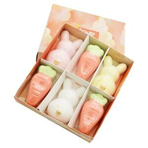 Hemoton Lot de 6 bombes de bain en forme de lapin, carotte, sel de mer, boules de bain pour le bain