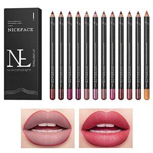 Jeu de crayons à lèvres 12 couleurs, crayon à lèvres mat effet velours imperméable à l'eau, longue durée, lisse, hautement pigmenté, aspect naturel des lèvres, crayon à lèvres ultra fin pour femmes