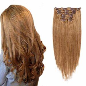 JIAGU Extension de la Poitrine Perruque Pince Coiffure 7 pièces Clip Clip Coiffure Clip Clip Coiffure Clip Toilettes à la tête Full Hair Extension Clip pour Dames Hair (Color : #12, Size : 20inch)