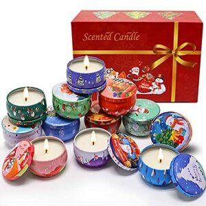 Jxfrice Coffret cadeau de 12 bougies parfumées d'aromathérapie fabriquées en cire de soja 100 % naturelle, portable, pour voyage, bain, yoga, Noël, fête des mères, anniversaire, pour femme, amie