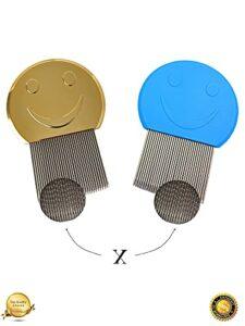✅KEEP THE SMILE, LE peigne anti poux, lentes, puces (lot de 2) pour toute la famille (bébé, papa et maman), méthode 100% naturelle efficace, tous types de cheveux, peigne fin (dents acier de qualité)