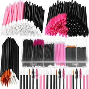 Kit de 263 applicateurs de maquillage comprenant 50 pinceaux jetables pour eye-liner, 100 brosses à mascara, 100 applicateurs à lèvres, 12 pinces à cheveux avec boîte de rangement en plastique