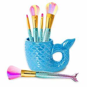 Kit de Maquillage Sirène pour Fille 5 Pinceaux et Brosses pour Lèvres, Yeux, Contour, Poudre, Brush et Porte-Pinceaux – pour Enfants 4-10 Ans
