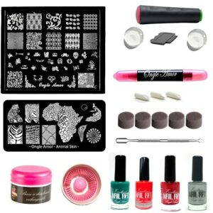 kit stamping nail art + 1 tampon nail art , baby boomer,1 stylo correcteur a dissolvant rechargeable + 4 vernis stamping -plaque en acier inoxydable +1bain dissolvant (tampon+2recharges transparentes)