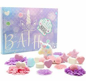 KreativeKraft Bombes De Bain Licorne, Coffret Cadeau Boules De Bain Multicolores Pour Enfant Femme Fille Ado, Lot 24 Pièces Effervescentes, Idée Pour Cadeaux Beauté