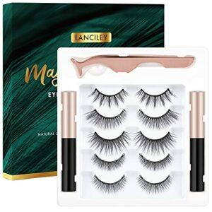 Lanciley Faux Cils Magnétique Eyeliner, 5 Paires de Cils Magnétique Avec Eye-liner, Faux Cils Naturel Magnetique 3D, Imperméable et Sans Colle Requise, Réutilisables et Pincettes