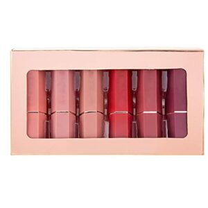 Lipstick mat Set 6 couleurs Longue Lèvre Gloss Kit de maquillage nu imperméable 6pcs